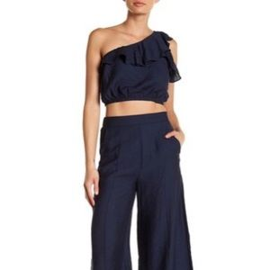 Aakaa one shoulder crop too & pants 2 pc set new